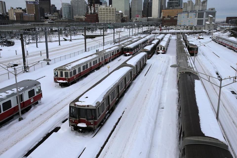 Red Line trains sat idle outside Broadway Station after a February snowstorm.